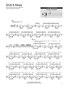 Give It Away - Red Hot Chili Peppers - Full Drum Transcription / Drum Sheet Music - SheetMusicDirect SORD