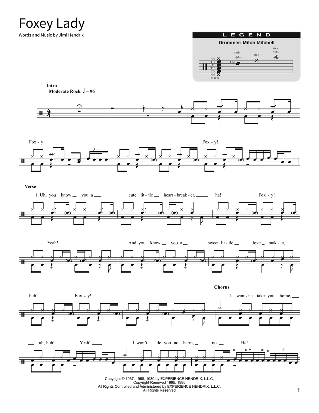 Foxey Lady - Jimi Hendrix - Full Drum Transcription / Drum Sheet Music - SheetMusicDirect SORD