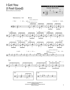 I Got You (I Feel Good) - James Brown - Full Drum Transcription / Drum Sheet Music - SheetMusicDirect SORD