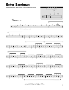 Enter Sandman - Metallica - Full Drum Transcription / Drum Sheet Music - SheetMusicDirect DT