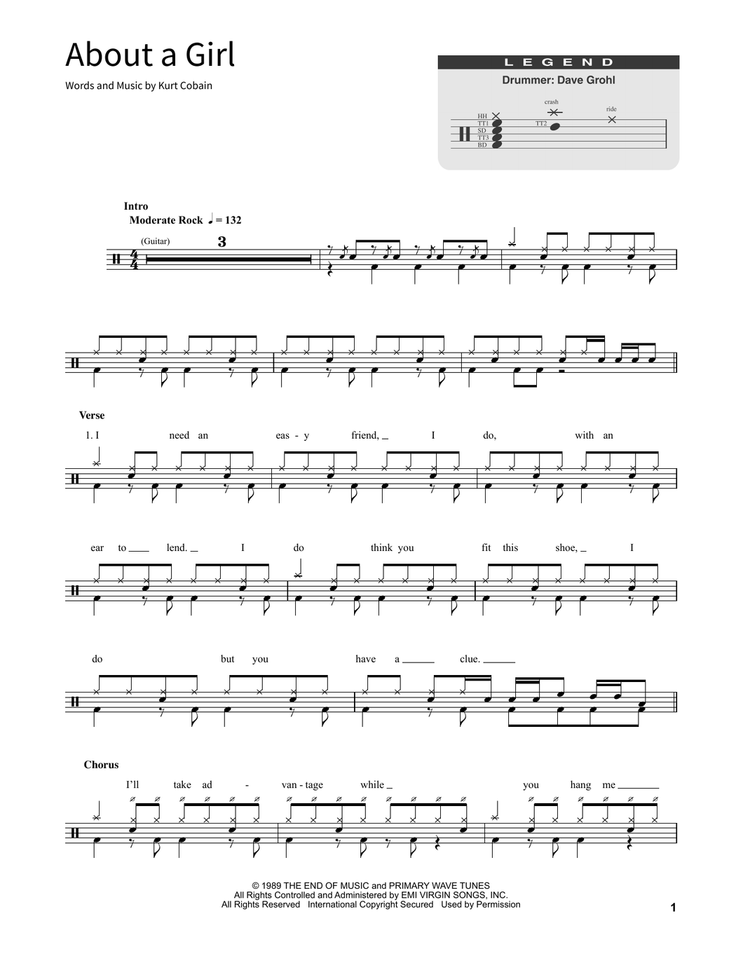 About A Girl - Nirvana - Full Drum Transcription / Drum Sheet Music - SheetMusicDirect SORD