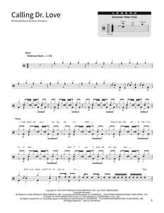 Calling Dr. Love - Kiss - Full Drum Transcription / Drum Sheet Music - SheetMusicDirect SORD