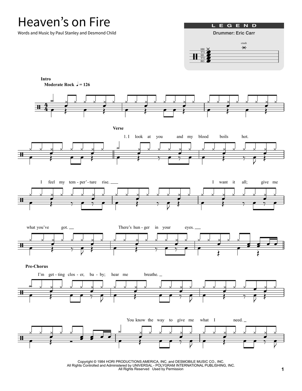 Heaven's On Fire - Kiss - Full Drum Transcription / Drum Sheet Music - SheetMusicDirect SORD