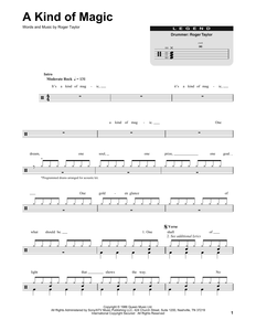 A Kind Of Magic - Queen - Full Drum Transcription / Drum Sheet Music - SheetMusicDirect DT