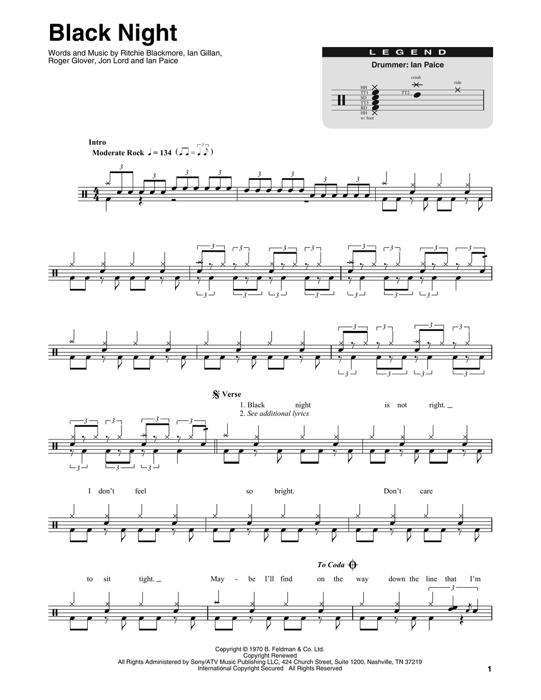 Black Night - Deep Purple - Full Drum Transcription / Drum Sheet Music - SheetMusicDirect DT