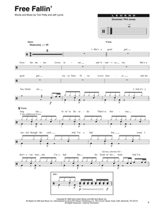 Free Fallin' - Tom Petty - Full Drum Transcription / Drum Sheet Music - SheetMusicDirect DT414589