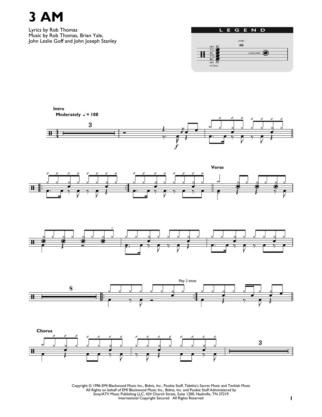 3 A.M. - Matchbox 20 - Full Drum Transcription / Drum Sheet Music - SheetMusicDirect DT422857