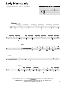 Lady Marmalade - Patti LaBelle - Full Drum Transcription / Drum Sheet Music - SheetMusicDirect DT