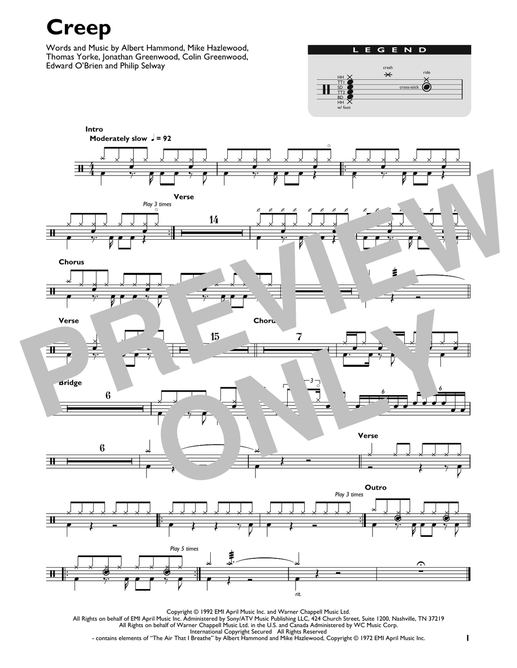 Creep - Radiohead - Full Drum Transcription / Drum Sheet Music - SheetMusicDirect DT426854