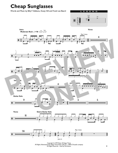 Cheap Sunglasses - ZZ Top - Full Drum Transcription / Drum Sheet Music - SheetMusicDirect DT