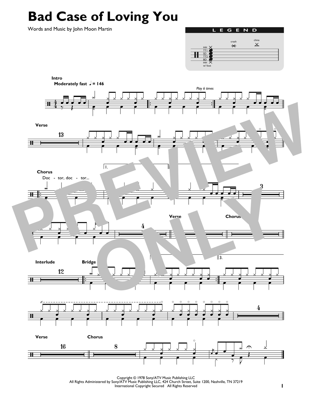 Bad Case Of Loving You - Robert Palmer - Full Drum Transcription / Drum Sheet Music - SheetMusicDirect DT