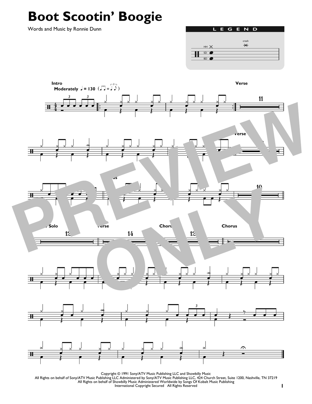 Boot Scootin' Boogie - Brooks & Dunn - Full Drum Transcription / Drum Sheet Music - SheetMusicDirect DT