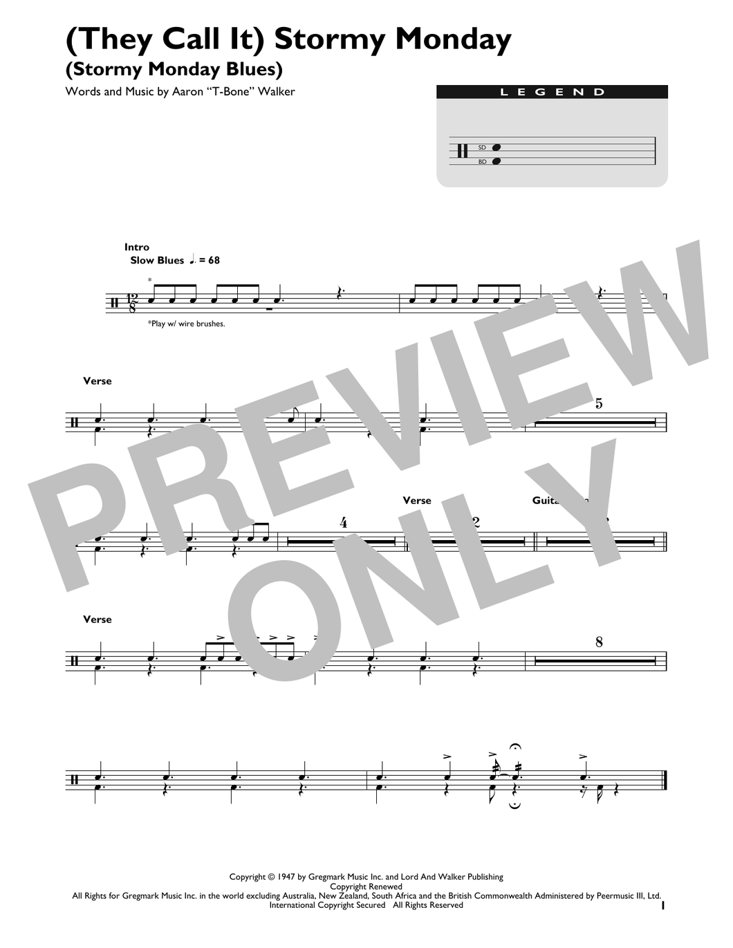 (They Call It) Stormy Monday (Stormy Monday Blues) - T-Bone Walker - Full Drum Transcription / Drum Sheet Music - SheetMusicDirect DT