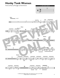 Honky Tonk Women - The Rolling Stones - Full Drum Transcription / Drum Sheet Music - SheetMusicDirect DT