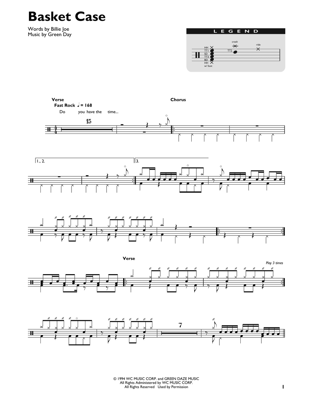 Basket Case - Green Day - Full Drum Transcription / Drum Sheet Music - SheetMusicDirect DT
