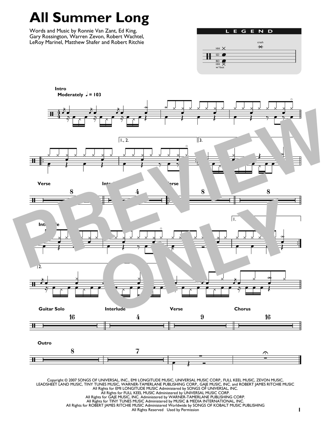 All Summer Long - Kid Rock - Full Drum Transcription / Drum Sheet Music - SheetMusicDirect DT