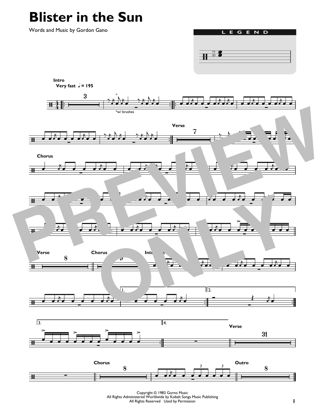Blister In The Sun - Violent Femmes - Full Drum Transcription / Drum Sheet Music - SheetMusicDirect DT
