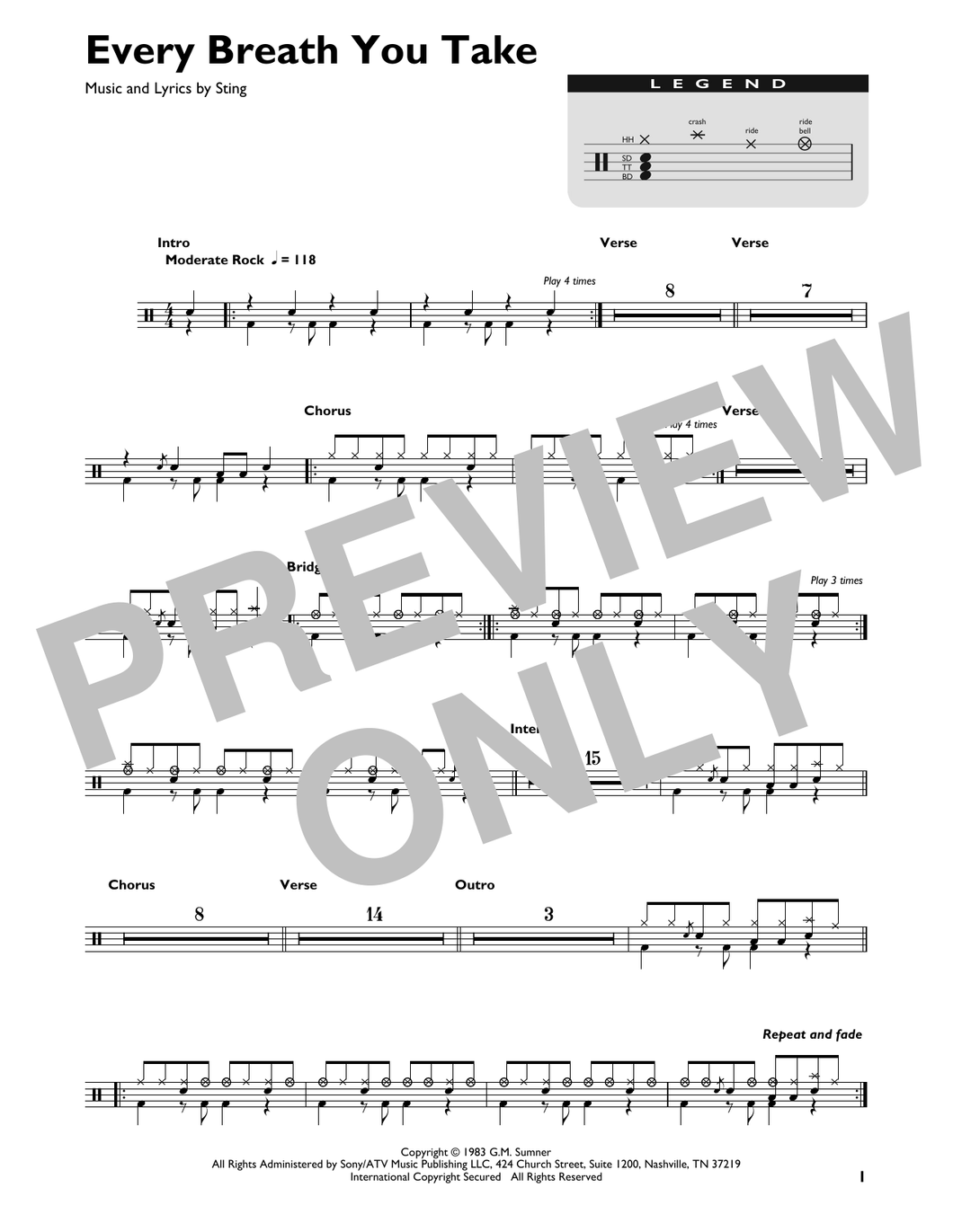 Every Breath You Take - The Police - Full Drum Transcription / Drum Sheet Music - SheetMusicDirect DT426838
