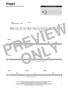 Happy - Pharrell Williams - Full Drum Transcription / Drum Sheet Music - SheetMusicDirect DT