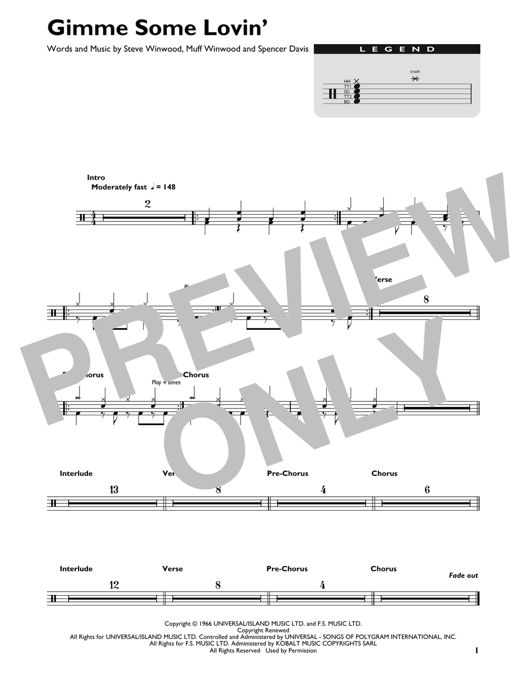 Gimme Some Lovin' - The Spencer Davis Group - Full Drum Transcription / Drum Sheet Music - SheetMusicDirect DT426814