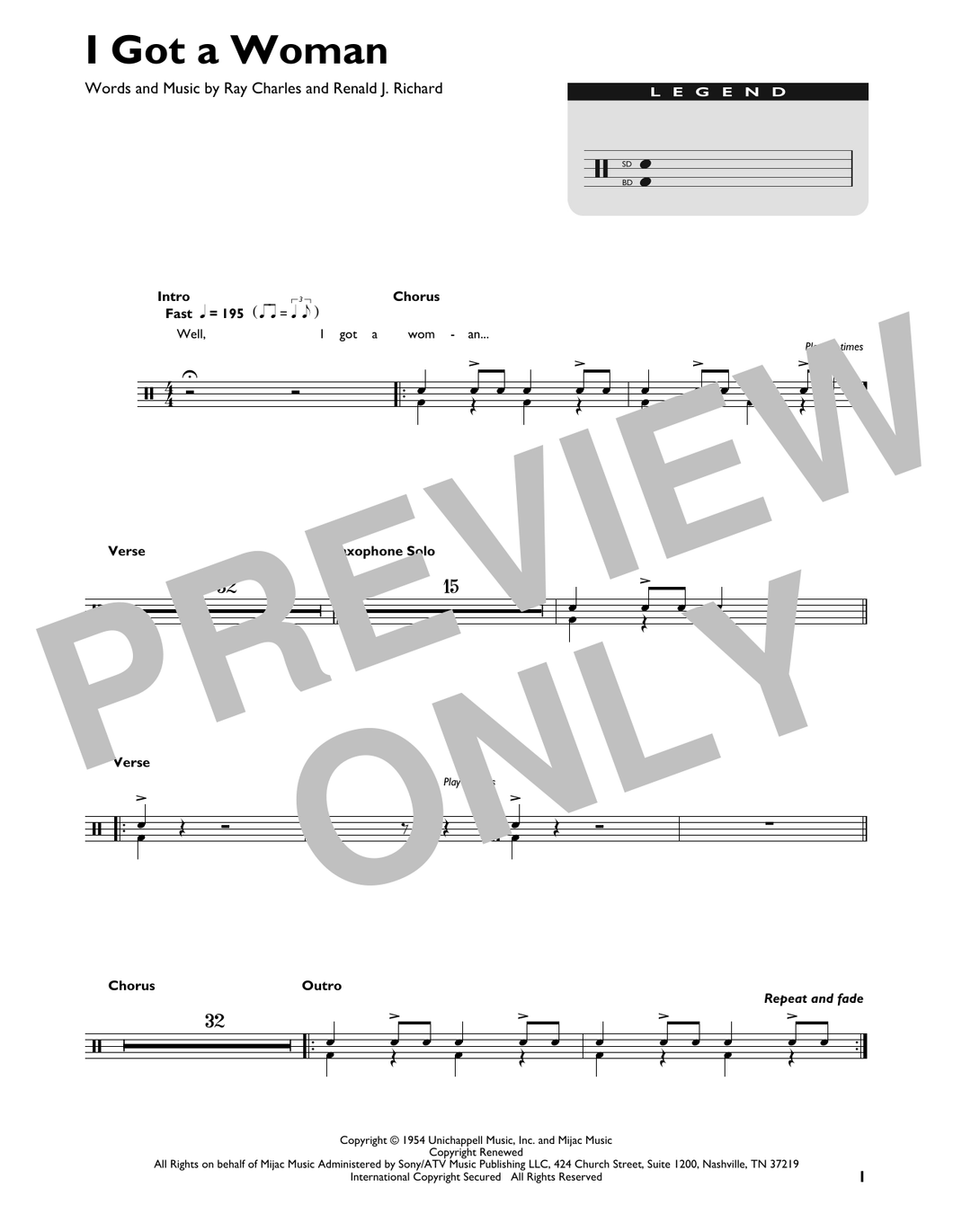I Got A Woman - Ray Charles - Full Drum Transcription / Drum Sheet Music - SheetMusicDirect DT