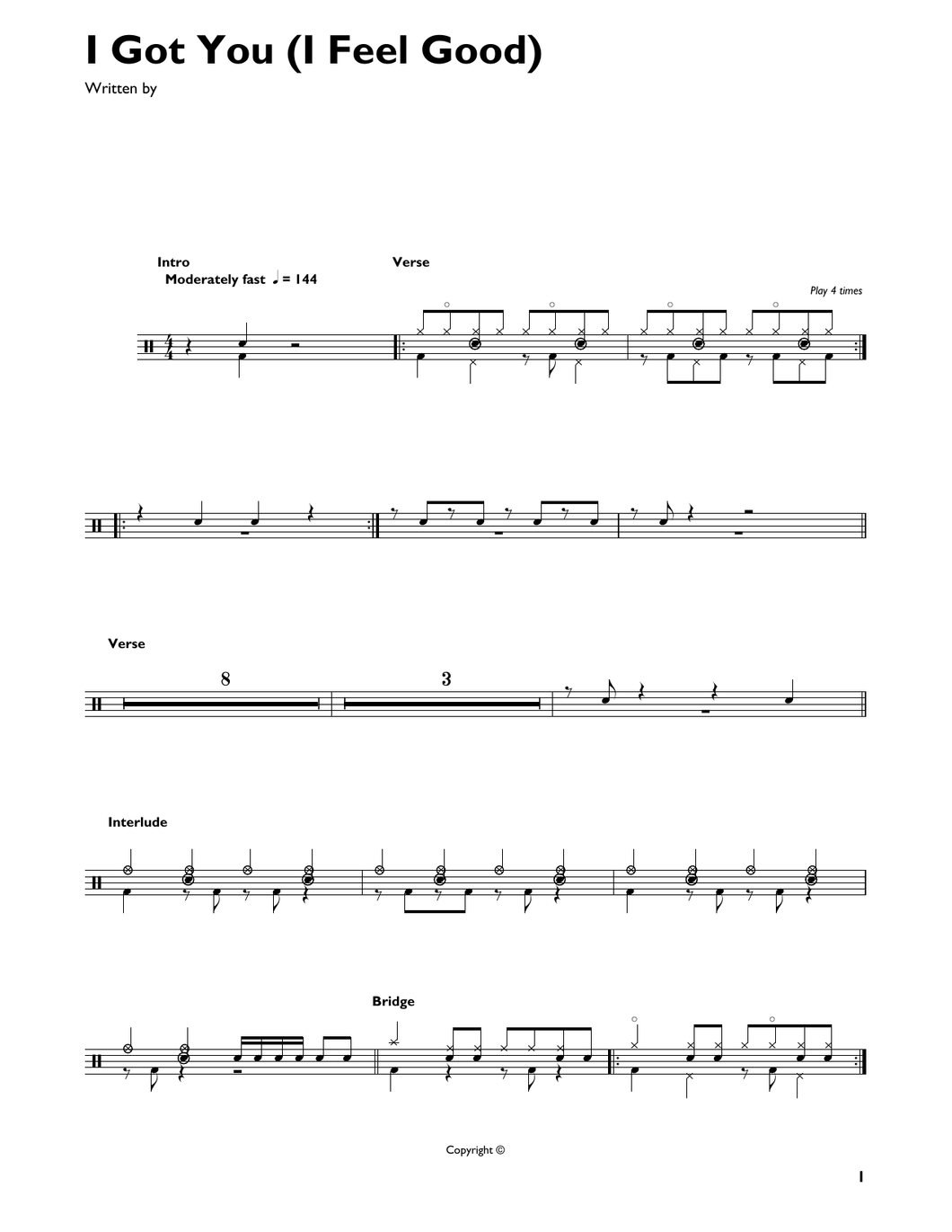 I Got You (I Feel Good) - James Brown - Full Drum Transcription / Drum Sheet Music - SheetMusicDirect DT427084
