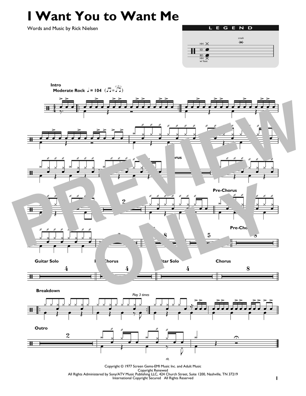 I Want You To Want Me - Cheap Trick - Full Drum Transcription / Drum Sheet Music - SheetMusicDirect DT