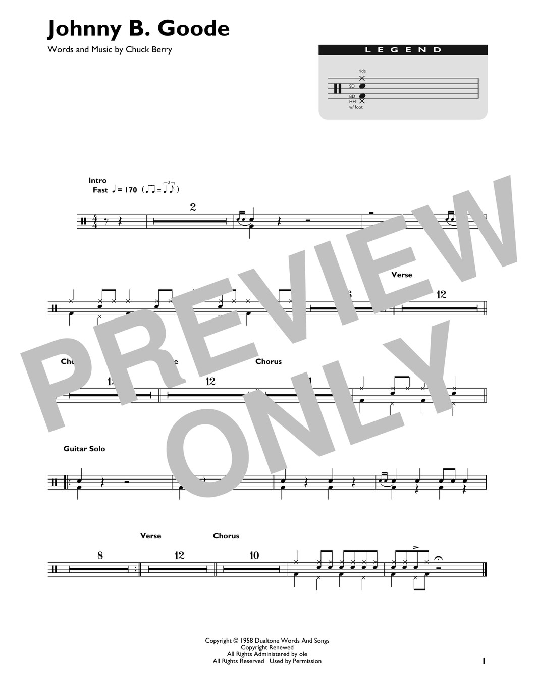 Johnny B. Goode - Chuck Berry - Full Drum Transcription / Drum Sheet Music - SheetMusicDirect DT