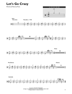Let's Go Crazy - Prince - Full Drum Transcription / Drum Sheet Music - SheetMusicDirect DT