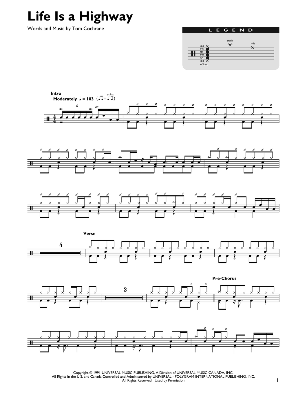 Life Is A Highway - Rascal Flatts - Full Drum Transcription / Drum Sheet Music - SheetMusicDirect DT