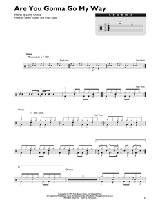 Are You Gonna Go My Way - Lenny Kravitz - Full Drum Transcription / Drum Sheet Music - SheetMusicDirect DT422807