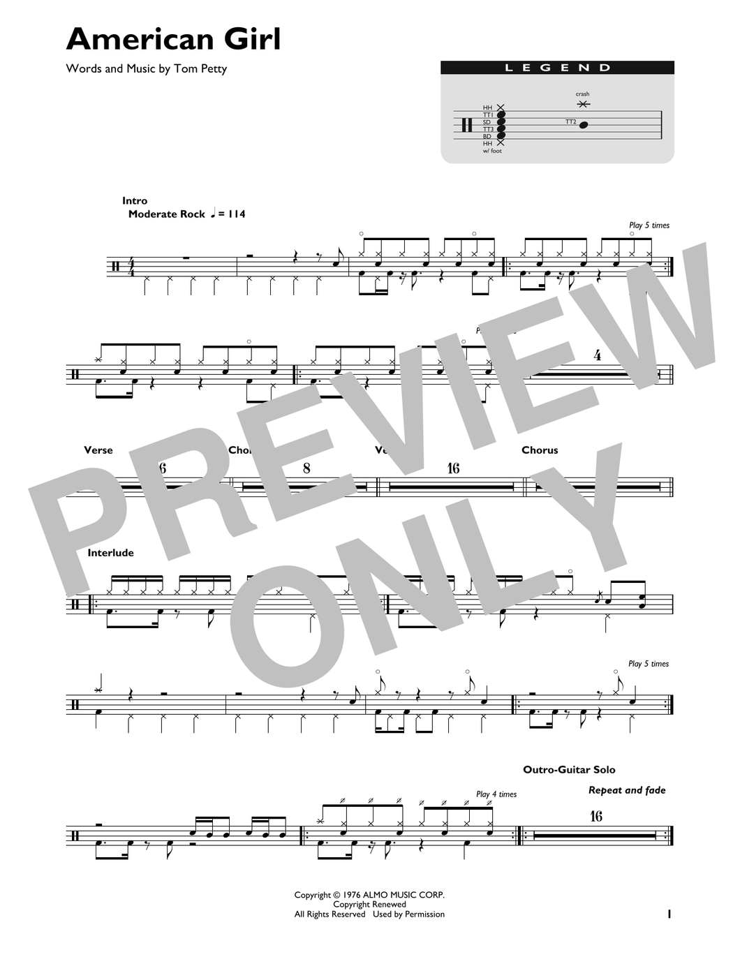 American Girl - Tom Petty and the Heartbreakers - Full Drum Transcription / Drum Sheet Music - SheetMusicDirect DT