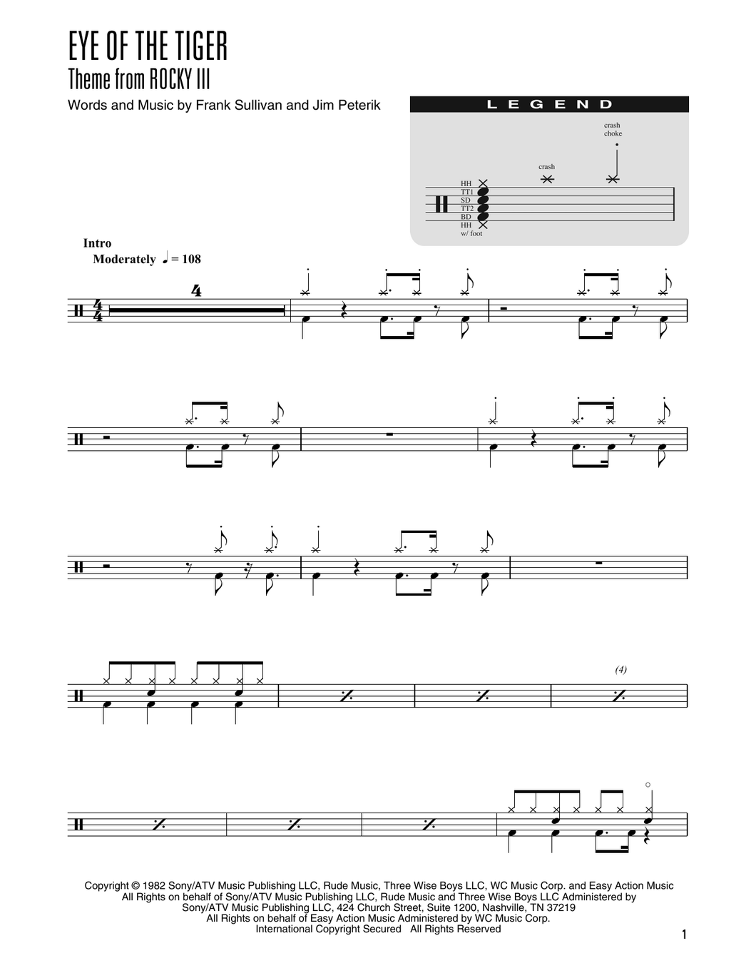 Eye Of The Tiger - Survivor - Simplified Drum Transcription / Drum Sheet Music - SheetMusicDirect DT