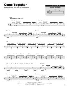 Come Together - The Beatles - Full Drum Transcription / Drum Sheet Music - SheetMusicDirect DT174470