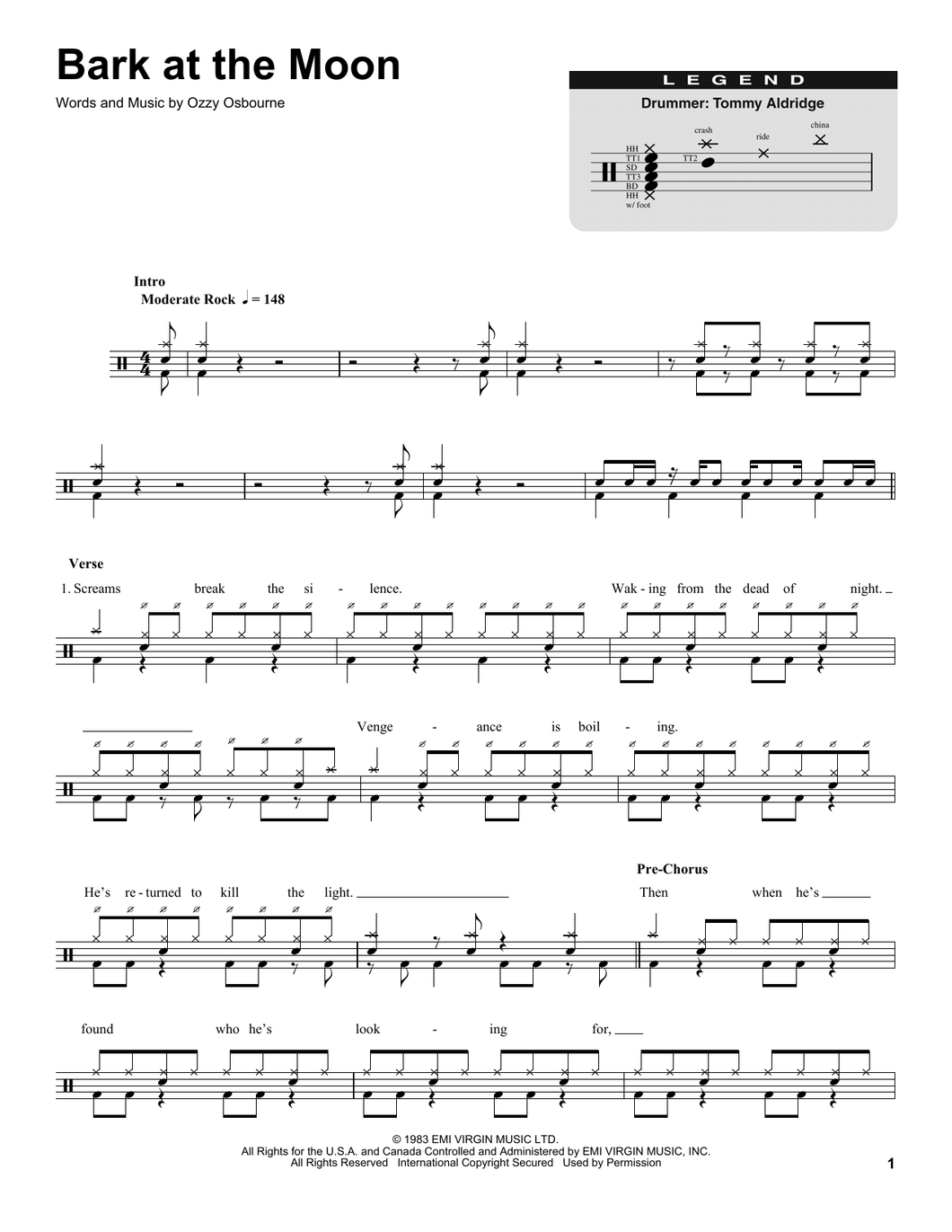 Bark At The Moon - Ozzy Osbourne - Full Drum Transcription / Drum Sheet Music - SheetMusicDirect DT