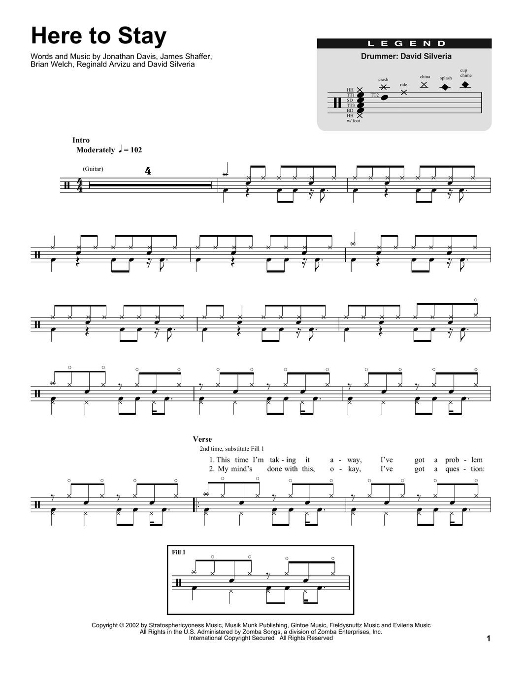 Here To Stay - Korn - Full Drum Transcription / Drum Sheet Music - SheetMusicDirect DT