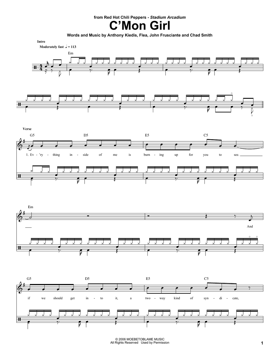 C'Mon Girl - Red Hot Chili Peppers - Full Drum Transcription / Drum Sheet Music - SheetMusicDirect DT