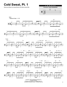 Cold Sweat, Pt. 1 - James Brown - Full Drum Transcription / Drum Sheet Music - SheetMusicDirect DT174656