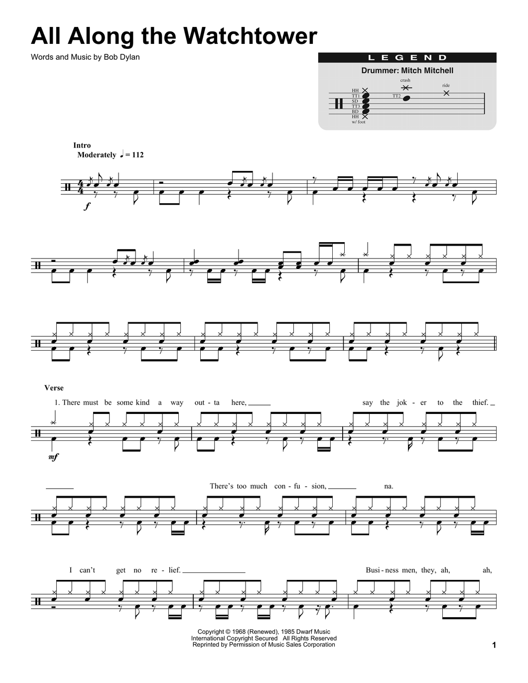 All Along The Watchtower - Jimi Hendrix - Full Drum Transcription / Drum Sheet Music - SheetMusicDirect DT