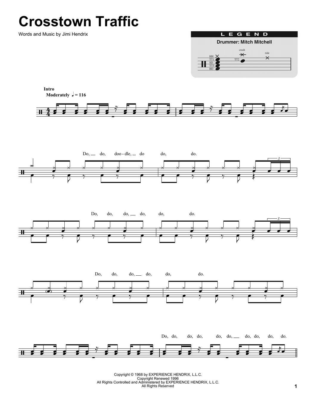 Crosstown Traffic - Jimi Hendrix - Full Drum Transcription / Drum Sheet Music - SheetMusicDirect DT