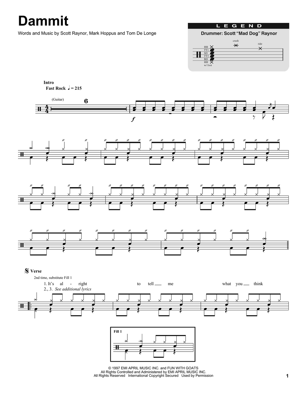Dammit - blink-182 - Full Drum Transcription / Drum Sheet Music - SheetMusicDirect DT174827