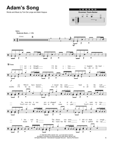 Adam's Song - blink-182 - Full Drum Transcription / Drum Sheet Music - SheetMusicDirect DT174838