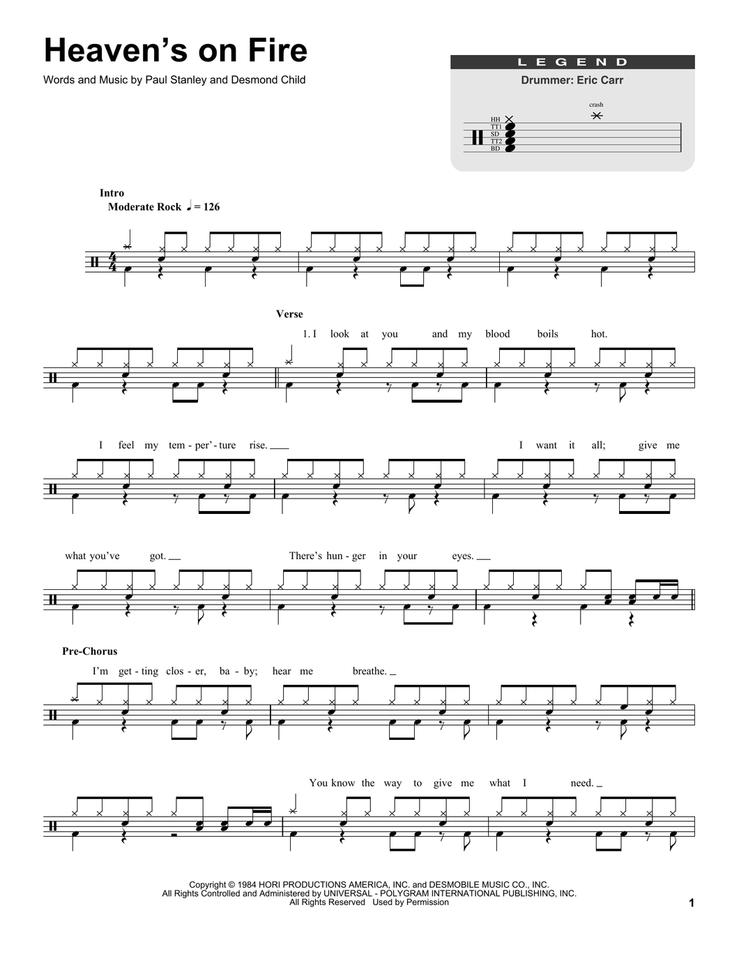 Heaven's On Fire - Kiss - Full Drum Transcription / Drum Sheet Music - SheetMusicDirect DT