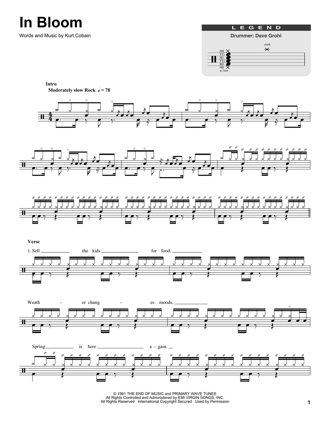 In Bloom - Nirvana - Full Drum Transcription / Drum Sheet Music - SheetMusicDirect DT174843