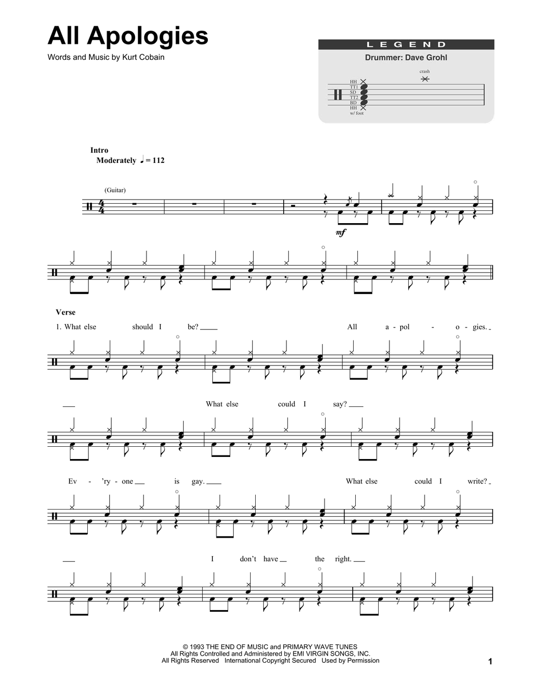 All Apologies - Nirvana - Full Drum Transcription / Drum Sheet Music - SheetMusicDirect DT
