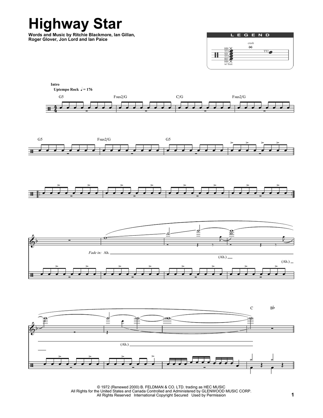 Highway Star - Deep Purple - Full Drum Transcription / Drum Sheet Music - SheetMusicDirect DT174266