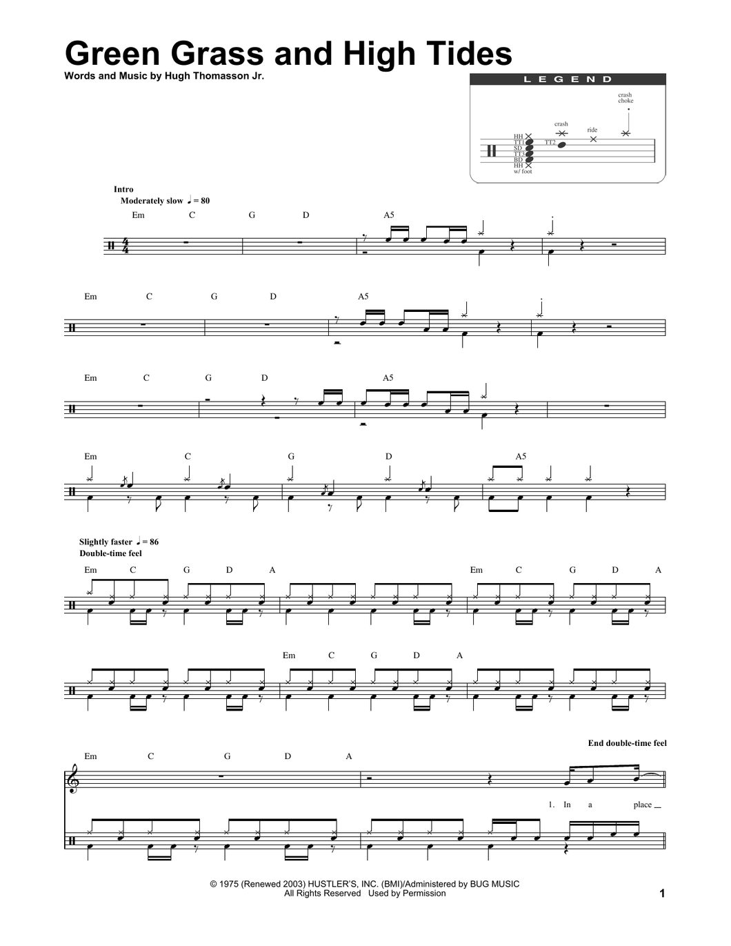 Green Grass And High Tides - Outlaws - Full Drum Transcription / Drum Sheet Music - SheetMusicDirect DT