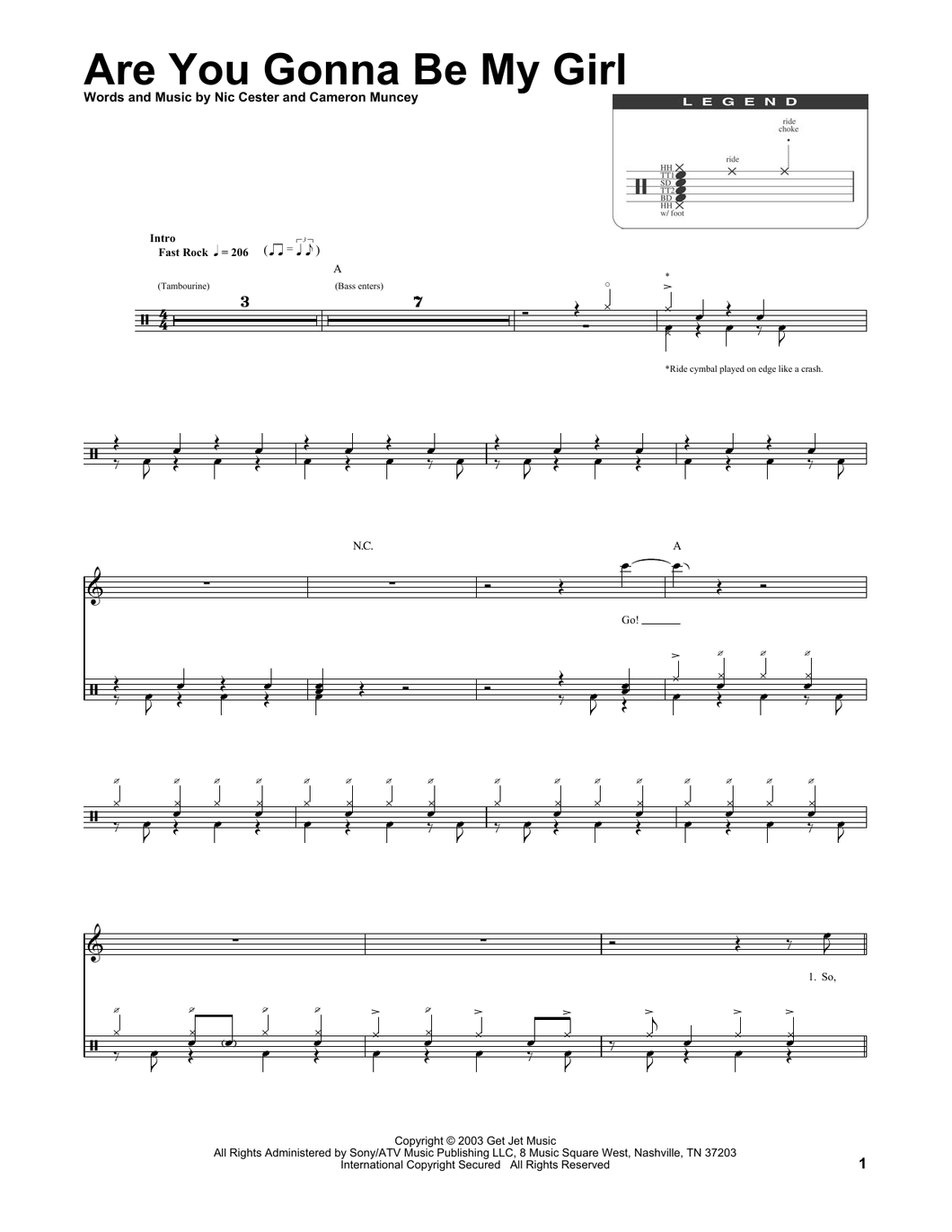 Are You Gonna Be My Girl - Jet - Full Drum Transcription / Drum Sheet Music - SheetMusicDirect DT174280