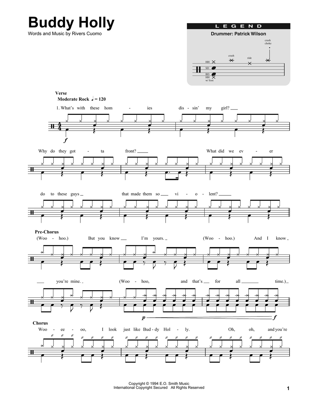 Buddy Holly - Weezer - Full Drum Transcription / Drum Sheet Music - SheetMusicDirect DT
