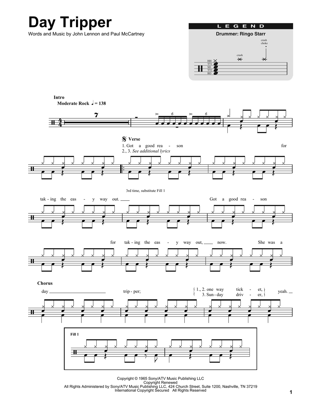 Day Tripper - The Beatles - Full Drum Transcription / Drum Sheet Music - SheetMusicDirect DT